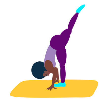 The black girl is engaged in fitness or yoga. An athletic African-American woman does yoga.Healthy lifestyle, care for the health of the body Illusztráció