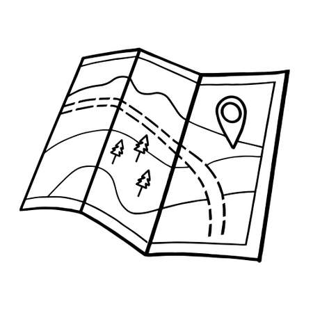 tourist road map. Stock vector illustration in the Doodle style.Paper map isolated on a white background.