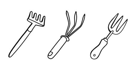 Garden tools set: earth rake for loosening the soil, isolated on a white background. Vector illustration in Doodle style