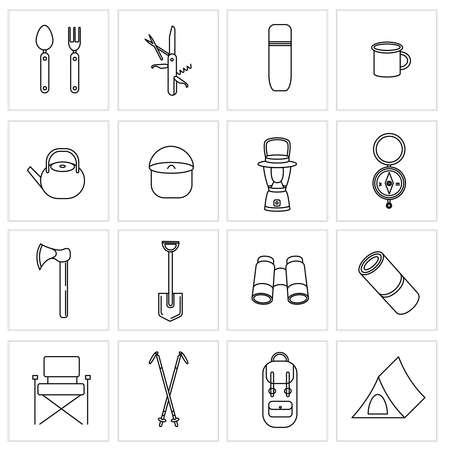 Set of vector icons for camping, travel and tourism. Collection of icons for Hiking and outdoor activities. Tent, portable flashlight, Nordic walking sticks, binoculars Ilustração