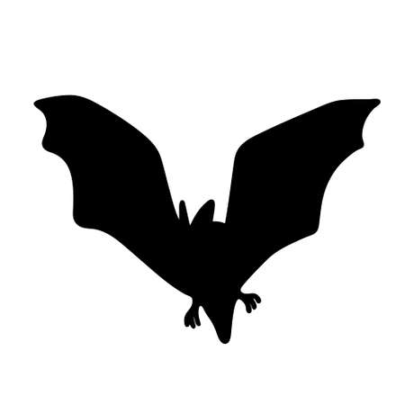 Black bat isolated on a white background. Silhouette of a bat. Design element for Halloween. Vector stock illustration