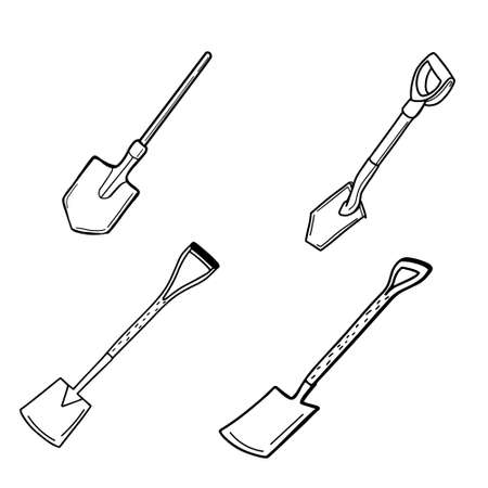 A set of shovels isolated on a white background. Tourist and a garden spade for excavation.A tool for digging up land and transplanting plants. Vector illustration in Doodle style Vetores