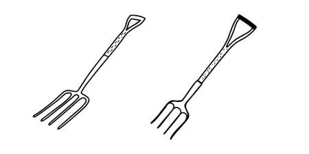 Set of garden forks isolated on a white background. The garden fork. Tools for earthworks and territory cleaning. Vector stock illustration in Doodle style