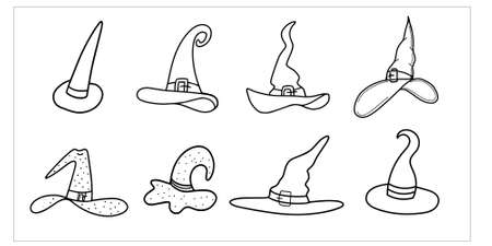 A collection of hats for Halloween. A witch's hat isolated on a white background. Design for Halloween, parties and holidays. Vector stock illustration in Doodle style