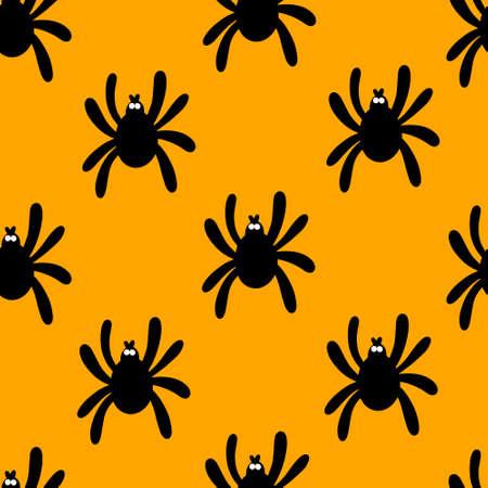 Seamless spider silhouette pattern on orange background. Halloween pattern. Design for Halloween. Vector Illustration