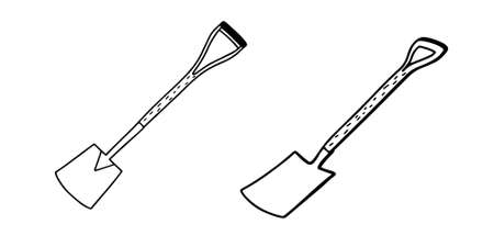 Collection of Garden shovels isolated on a white background.Vector