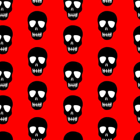Seamless pattern of a black skull on a red background. Skull pattern. Bright design for Halloween, day of the dead Vecteurs