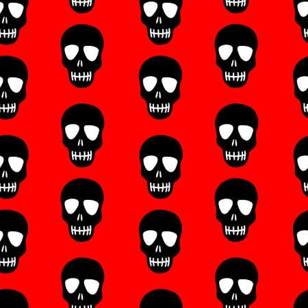 Seamless pattern of a black skull on a red background. Skull pattern. Bright design for Halloween, day of the dead Vektoros illusztráció