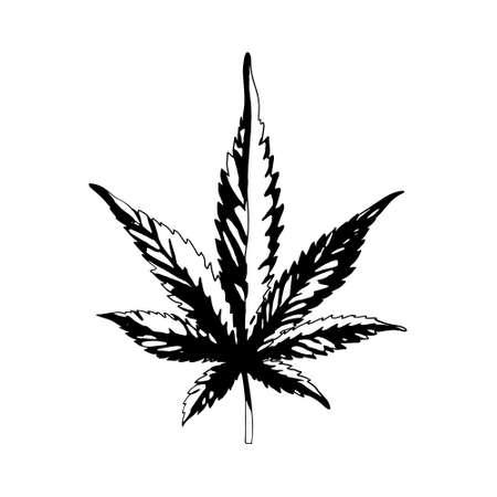 A cannabis leaf isolated on a white background. Black and white marijuana leaf. Ganja is a Rastafarian symbol.Vector