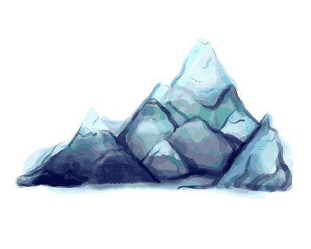 watercolor mountains. High mountain range and hills. Hand-drawn vector illustration