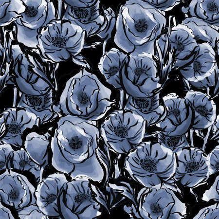 seamless pattern of watercolor blue flowers on a black background. Delicate and elegant Botanical pattern. Design for printing, textiles, Wallpaper, web