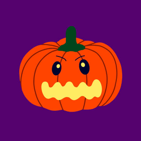 The evil pumpkin.Symbol of the Halloween.Orange pumpkin with a smile.design for the Halloween.Vector illustration Illustration