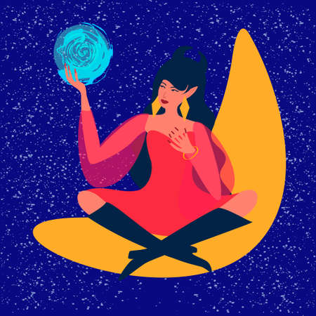 A young beautiful witch holds a crystal ball in her hands, predicts the future. The sits on the moon. Divination, astrology, mysticism, predictions. 矢量图像