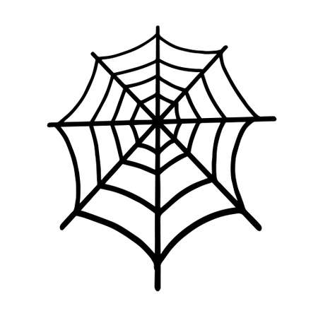 Web isolated on a white background. Web for Halloween, a scary, ghostly, spooky element for design on Halloween. Vector