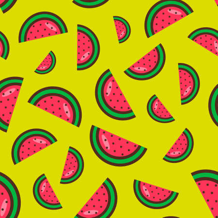 seamless pattern of watermelon slices on a yellow background. Bright watermelon pattern.Colorful fruit pattern. Vector