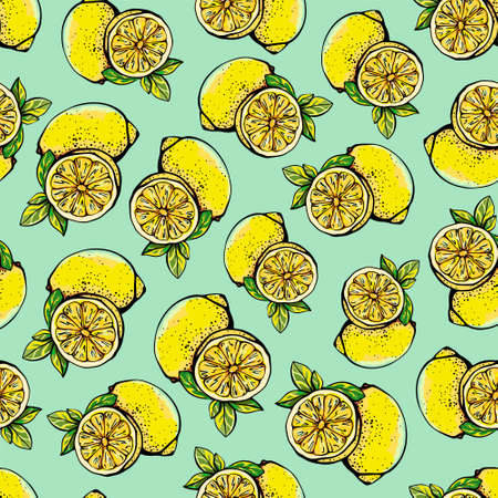 Seamless pattern with yellow lemons, whole and sliced. Lemon pattern on a white background. Texture with citrus vector illustration in graphic style.Design for textiles, paper, and printing