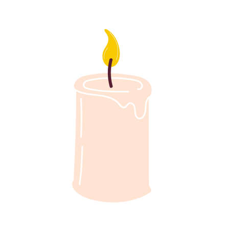 Burning aromatic candle for aromatherapy and interior decoration, isolated on a white background. Element for the design. Flat vector illustration