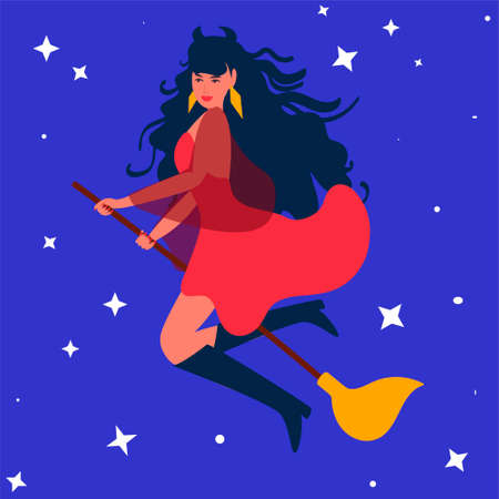 the witch flies on a broom across the starry sky. Design for Halloween, greeting cards, invitations, parties Illustration