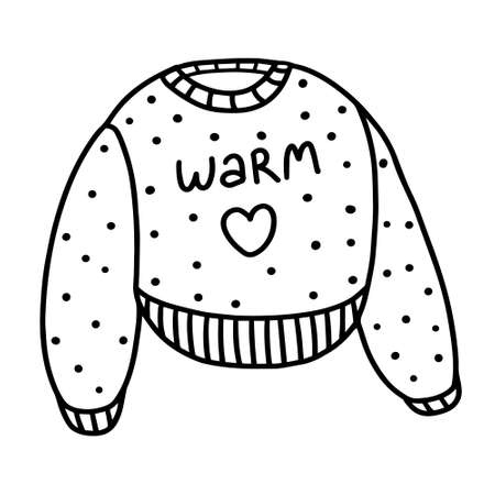Cute sweater isolated on white background. Warm and cozy sweater. Vector illustration in Doodle style
