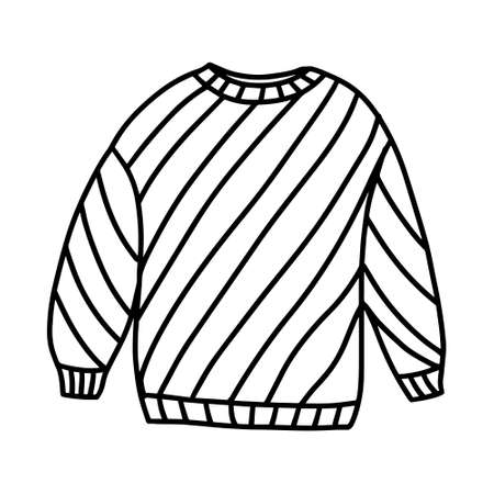 Sweater with a striped pattern. Warm, winter and autumn clothing. Design for postcards, packages and printing. Hand drawn vector illustration in Doodle style Illusztráció