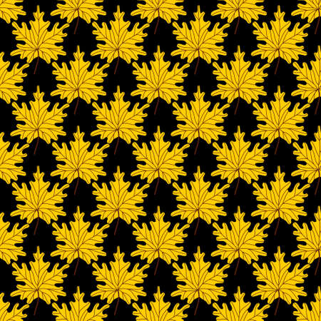 Yellow golden maple leaves seamless pattern.Beautiful autumn pattern with fallen leaves on a black background.Colorful autumn background. Vector illustration in flat style for paper, textile,printing