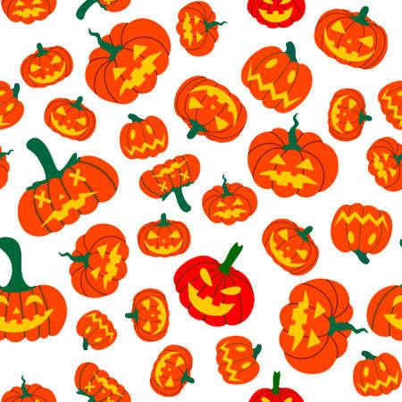 Seamless pattern of orange pumpkins illustration.Design of packaging, advertising, banners, textiles