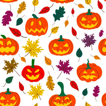 Seamless Halloween pumpkin pattern with fallen leaves on a white background. Design for Halloween and thanksgiving. Иллюстрация