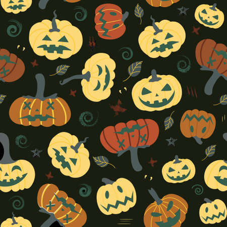 Seamless pumpkin pattern with autumn leaves on a black background. Halloween pattern.Design for Halloween party invitations, printed products, banners, textiles Иллюстрация