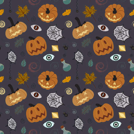 Seamless Halloween pumpkin pattern with leaves, cobwebs, spiders, potions. Pumpkin pattern on a black background. Design for invitations, postcards, printing, textiles. Иллюстрация
