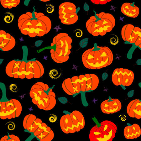 Seamless pumpkin pattern with autumn fallen leaves on a black background. Autumn Halloween pattern.Design for Halloween and thanksgiving, textiles, paper, printing