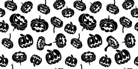 Seamless Halloween pattern with black pumpkins on a white background.Design for packaging,wrapping paper,banners,flyers