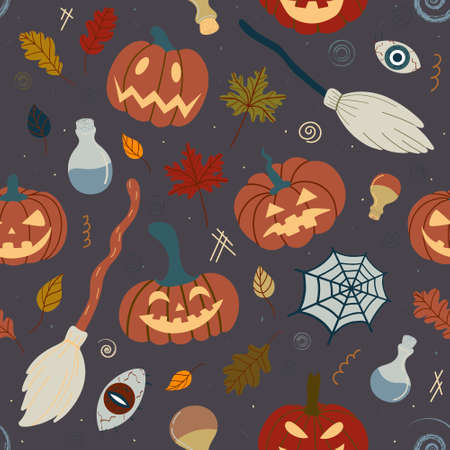 Seamless Halloween pumpkin pattern with witchcraft attributes: spiders, witch broom, potions on a dark background. Design for invitations, textiles, textiles.