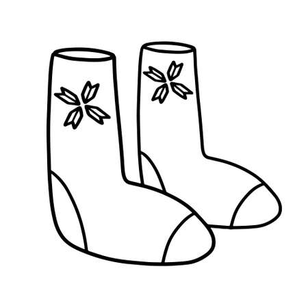 Felt boots in the style of Doodle. Winter warm shoes. Valenki hand-drawn vector illustration