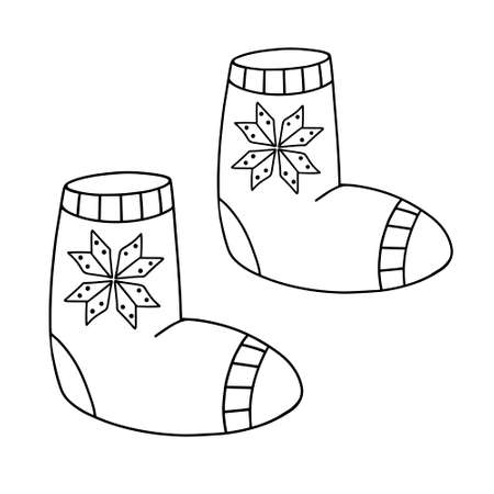 Felt shoes in the Doodle style. Winter warm shoes. Valenki traditional Russian shoes. hand drawn vector illustration. Scandinavian style Illusztráció