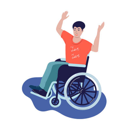 .Disabled person in a wheelchair. Young disabled guy puts his hands up Иллюстрация