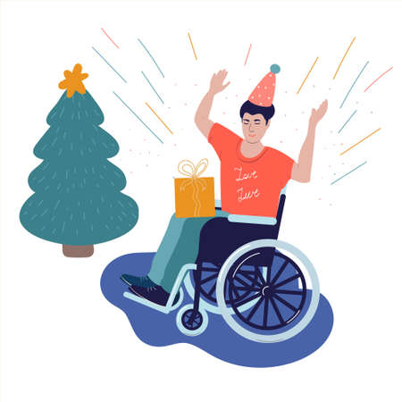 Disabled in a wheelchair celebrates new year Иллюстрация