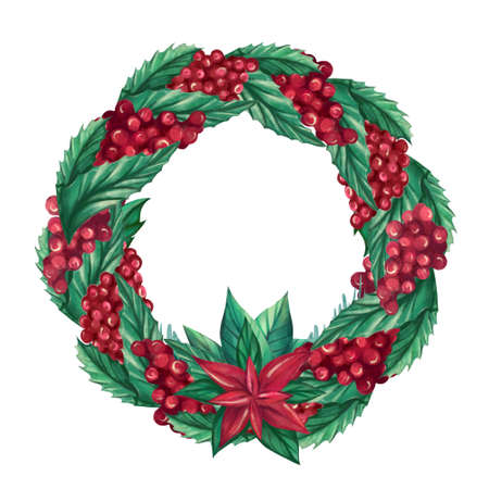 Christmas wreath made of berries, Holly leaves,Poinsettia