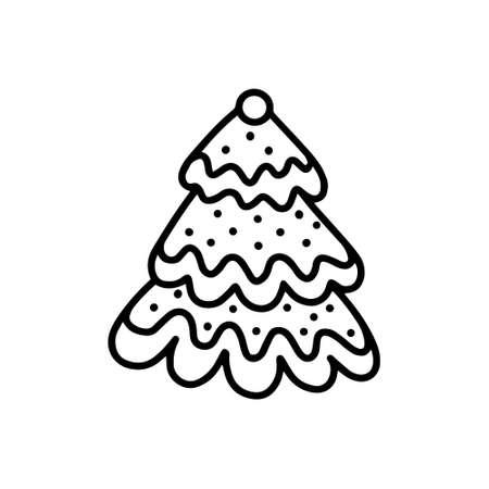 Gingerbread Christmas tree. Doodle style
