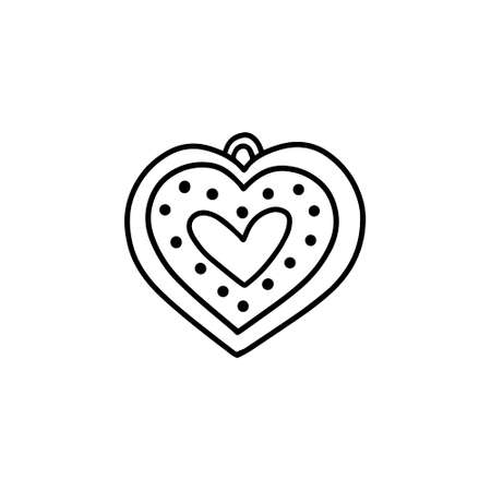 Heart shaped gingerbread cookie in the Doodle style Illustration