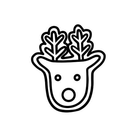 Gingerbread in the shape of a deer. Doodle style Illustration