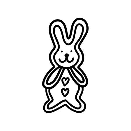 Gingerbread hare. Hand drawn vector illustration in the Doodle style