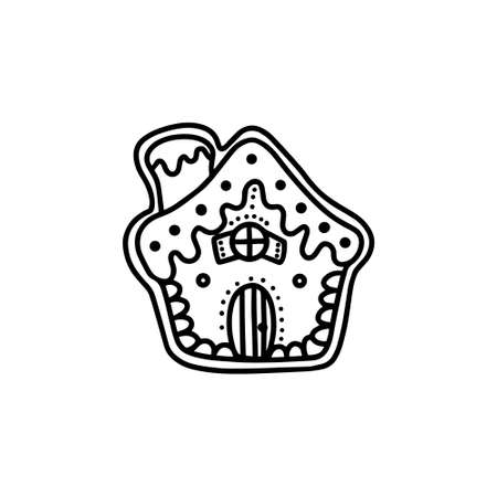Christmas Gingerbread house. Hand drawn vector illustration in Doodle style