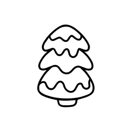 Ginger cookies Christmas tree in the style of Doodle. Vector illustration