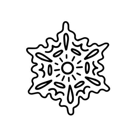 Gingerbread snowflake. Hand drawn vector illustration in Doodle style Illustration