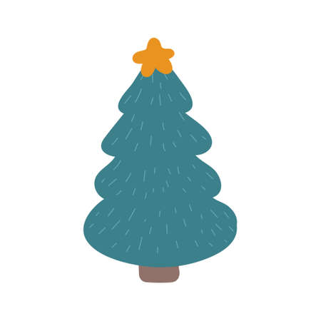 Christmas tree with a star vector illustration in Doodle style. Design for Christmas and New Year cards, stickers