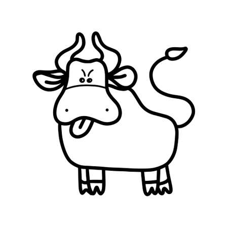 Cute bull .Symbol of 2021. Doodle style Vector Illustration