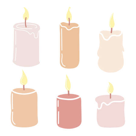 Set of burning candles. Hand-drawn vector illustration in doodle style . Design for holiday cards, stickers, print, Christmas,New Year
