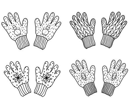 Set of knitted gloves isolated on a white background. Vector illustration in Doodle style.