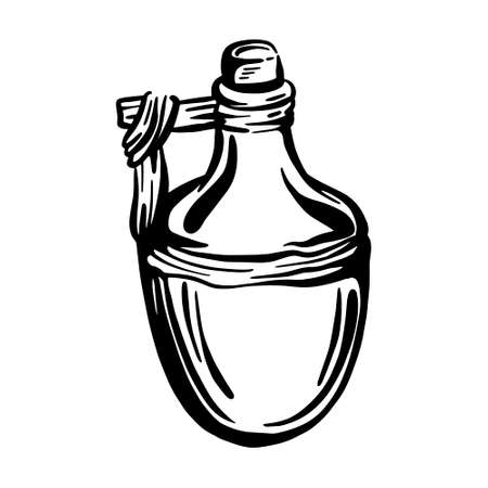 Ceramic bottle with olive oil. Hand drawn vector illustration 矢量图像