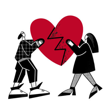 A guy and a girl are holding a broken heart. Modern vector illustration. Design for Valentines day